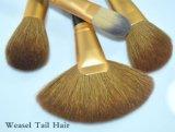 16 parti dell'oro del puntale del nero della maniglia del Weasel della coda dei capelli della spazzola di lusso di trucco