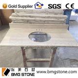 Dessus et partie supérieure du comptoir en bois blancs faits sur commande de vanité de marbre de grain
