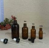 Glasflaschen, bernsteinfarbige Umläufe mit schwarzen Birnen-Glas-Tropfenzählern