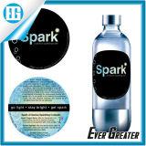 Круглая пластичная бутылка воды обозначает водоустойчивым, ярлык стикера предохранения от двойных сторон PVC таможни UV