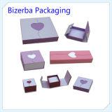 Boîte de bijoux pliable de couleur de boucle d'oreille de bijoux de vente en gros crème de boîte