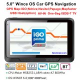"싸게 5.0 "" 128MB 렘을%s 가진 차 GPS 항해 체계, 8GB 섬광, FM 전송기, Igo 새로운 지도"
