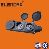 Socket de potencia francés de goma industrial de 3 enchufes de la UE (P6310F)
