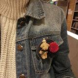 Покрынный золотом Brooch голубых джинсов медведя POM Poms Rose кроны