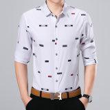 Le bouton de luxe du bloc des hommes de mode chemise florale de configuration de longue vers le bas occasionnel amincissent le T-shirt en bonne santé