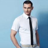 Nueva marca de fábrica de los hombres de color sólido de manga corta delgada apta de negocios camisa de vestir