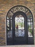 Porta de entrada dobro clássica do ferro de Wrough da parte superior do arco do projeto