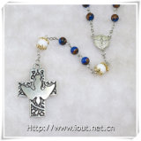 6mm Round Blue Stone Beads Jesus Rosaries, Stone Rosary (IO-cr362)