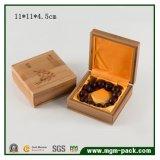 Rectángulo de joyería de madera de bambú elegante de Soild