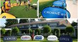 広告する最上質の染め補助的な印刷の屋外のイベントによっては現れる図形昇進のゴルフスポーツのゲーム日の表示が付いているフレームの旗がぽんと鳴る