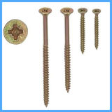 Phil Flat Head Yellow Zinc Plated Screwing Screw