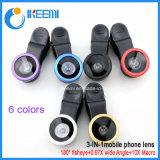 Universal 3 en 1 lente de cámara del clip para el teléfono móvil