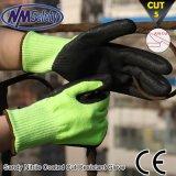 Gant protecteur de travail de sécurité de coupe enduit par nitriles mous de Nmsafety