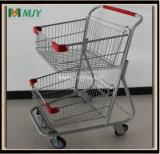 Zwei Korb-amerikanischer Supermarkt-MetallEinkaufswagen Mjy-C80