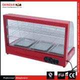 Het hete Verkopende Gebogen Verwarmingstoestel van de Vertoning van het Voedsel van het Glas met de Goedkeuring van Ce