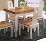 Tabela e cadeiras telescópicas de jantar da mobília da madeira contínua do projeto novo