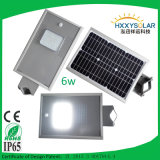 6W All in Un Solar Street Light con Lithium Battery 12.8V 4ah