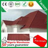 Telha de telhado revestida galvanizada do metal da pedra do material de telhadura da telha da pedra da chapa de aço