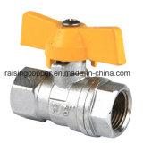 Válvula de bola de latón con mango de aluminio amarillo