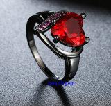 黒によってめっきされるカラーCZの宝石類のリング(R0844)