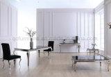 Черная стеклянная верхняя обедая таблица для домашней мебели металла пользы