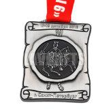 Medalha redonda feita sob encomenda delicada da lembrança do esporte da prata do chapeamento do selo barato quente do projeto do cliente da venda com fita