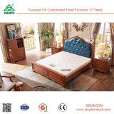 특대 2인용 침대 단단한 나무와 가죽 침대