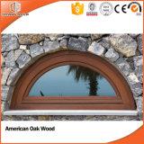 Janela de especialidade de madeira maciça altamente elogiada, Trapezoid / Circular / Triangle / Arched / Rectangle Janela de madeira maciça