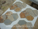 S015 Rustic Brown Multi Color Slate Meshed Paving Stone