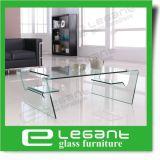 Rimuovere il tavolino da salotto di vetro piegato con la mensola glassata