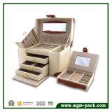 高品質の贅沢なカスタム厚い携帯用革宝石箱