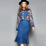 Floral imprimé plissé femmes robe avec poche