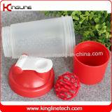 bottiglia di plastica dell'agitatore della proteina 500ml con 1 sfera del miscelatore della plastica e dello scompartimento (KL-7024)