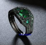 黒はセットされた青いガラス宝石類のリングをめっきした(R0849)