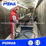 Compartimiento manual de la voladura de arena con el sistema automático de la recuperación del tiro