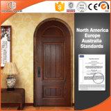 La porte intérieure solide en bois de chêne rouge de Rond-Dessus a personnalisé la porte en bois articulée de porte