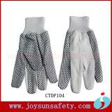 Luvas pontilhadas de trabalho da mão da lona da segurança algodão protetor branco (CTDP)