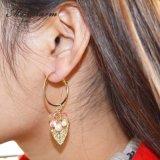 Gold-Farbe Band-Ohrring-vorzügliche Blatt Simulieren-Perle hängende lange Ohrringe