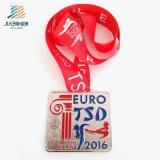 2016 anni di sport dei trofei dei premi di medaglia poco costosa in bianco del metallo con il nastro