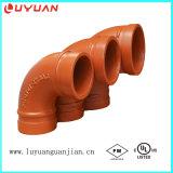 Círculo de montagem de tubos ranhurados e de aço carbono com raio longo