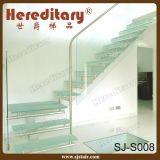 Escalera interior de cristal del pasamano del diseño elegante y madera (SJ-3038)