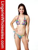 섹시한 숙녀 고삐 비키니 꽃 인쇄된 패턴 끈 수영복