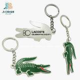 Trousseau de clés fait sur commande d'alligator en métal de logo de cadeau d'alliage dur promotionnel d'émail