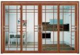 Portello scorrevole del PVC di colore di legno di disegno moderno con il disegno della griglia