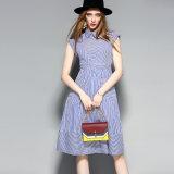 Платье голубых и белизны нашивок сладостное женщин с карманн