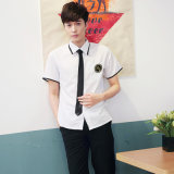白い綿ワイシャツおよび青いSkritのバルク顧客用高等学校のユニフォーム