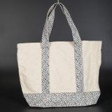 10ozは白いハンドルのカスタムロゴの綿によってリサイクルされるショッピング・バッグを嘆く