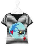 Camisa listrada e desenhos animados impressa da menina por atacado de T