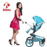 Carro de bebê azul com frame e assento regular