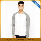 100%年の綿メンズRaglanの長い袖のティーワイシャツ